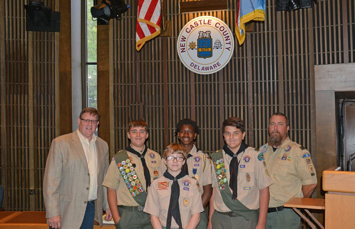 Councilman Ken Woods with the members of Boy Scout Troop 339 of Richardson Park.